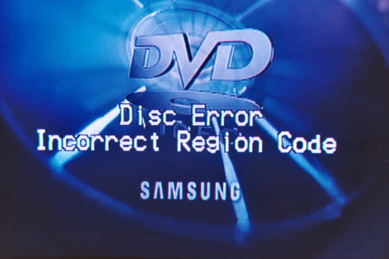 "Picture of a television screen displaying the error message ""Disc Error Incorrect Region Code"". This error message was generated by the connected DVD player, which has region code ""1"", following the insertion of a DVD having region code ""2""."