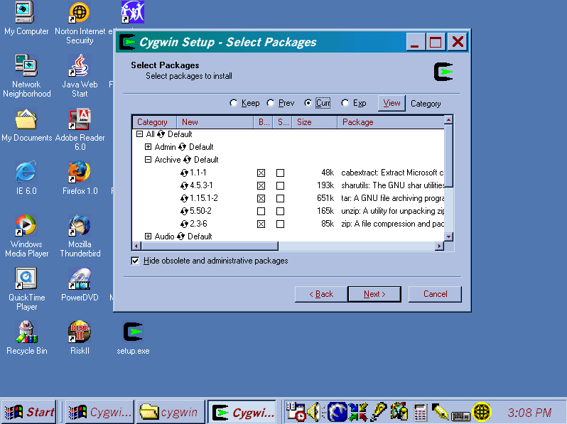 """Screen shot of """"Select Packages"""" window of Cygwin Setup program showing the Archive packages tree expanded and the binaries selected for the packages cabextract, sharutils, tar, and zip, but not unzip, and with none of the source packages selected."""