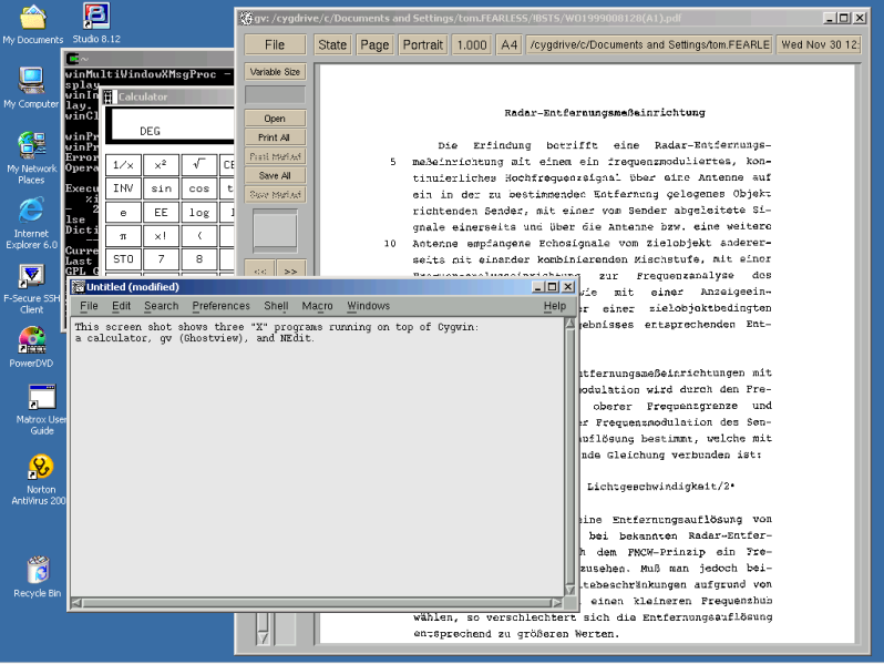 """Screen shot showing 3 """"X"""" applications — a calculator, NEdit, and Ghostview — launched from Cygwin running on Windows 2000; Ghostview is displaying a pdf file of a German-Language international patent application."""