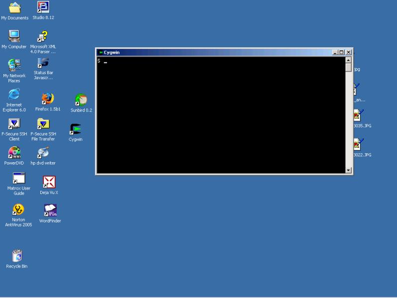 Screen shot of blank Cygwin window on Windows 2000 desktop.