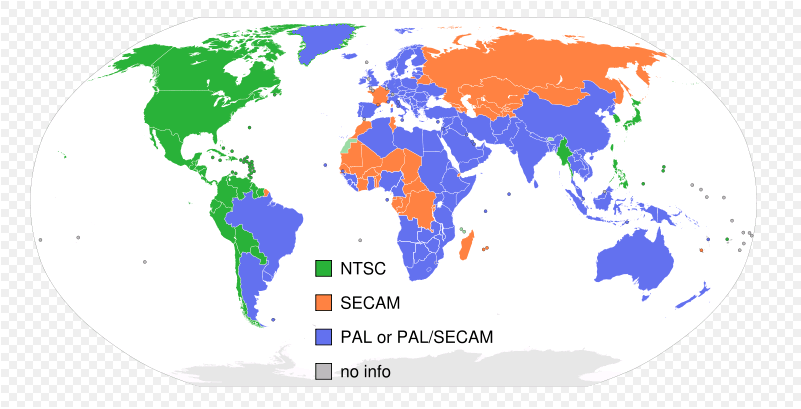 Map of the world showing the parts of the world that use each of the three major analog video encoding standards (NTSC, SECAM, and PAL).